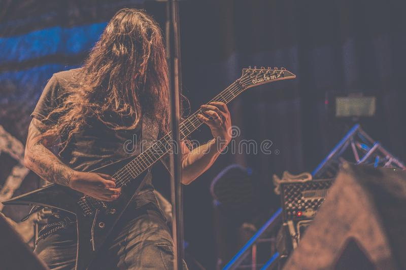Nile, Brian Kingsland live concert 2019. Nile is an American death metal band from Greenville, South Carolina, United States, formed in 1993. Their music and stock images