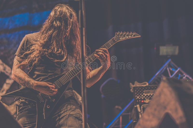 Nile, Brian Kingsland live concert 2018. Nile is an American death metal band from Greenville, South Carolina, United States, formed in 1993. Their music and royalty free stock photography