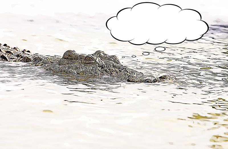 Nile crocodile Crocodylus niloticus cartoon. Nile crocodile Crocodylus niloticus hunting cartoon with thought bubble stock illustration