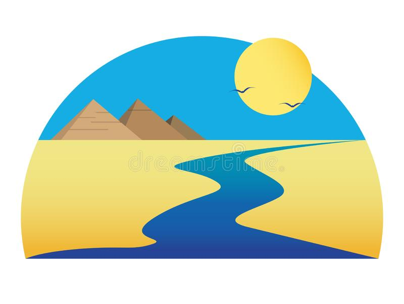 Nile and egyptian pyramids. Nile in the desert under the scorching sun. Egyptian pyramids royalty free illustration