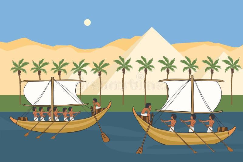 Nile River av forntida Egypten med segelbåtvektortecknade filmen vektor illustrationer