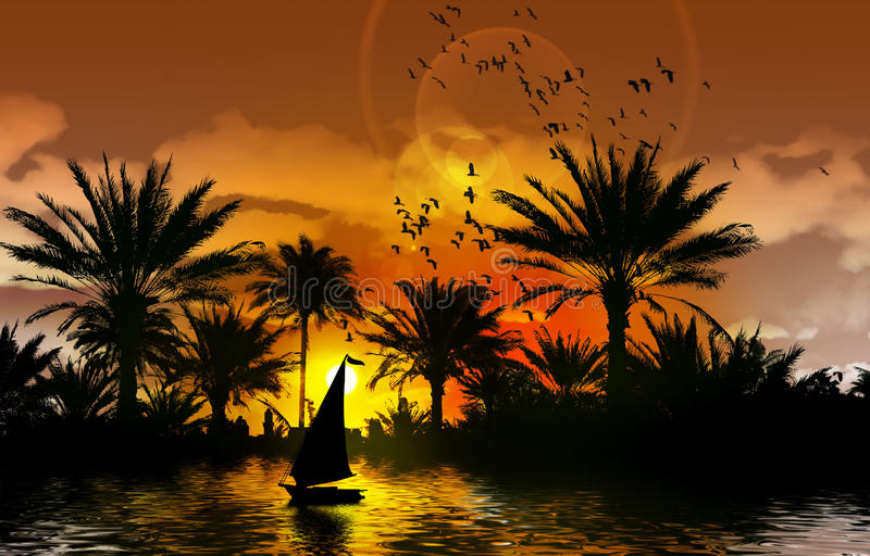 Nile river bank. With palm trees, birds in the background and felucca during sunset stock illustration