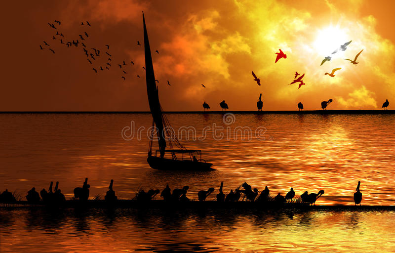 Nile river bank. With birds flying in the background birds eating in the foreground and felucca royalty free illustration