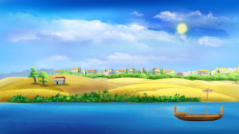 Nile river. Digital painting of the Nile river stock illustration