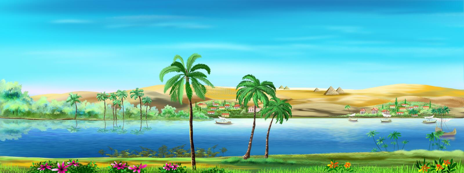 Nile river landscape. Digital painting of the Nile river landscape in the ancient times stock illustration
