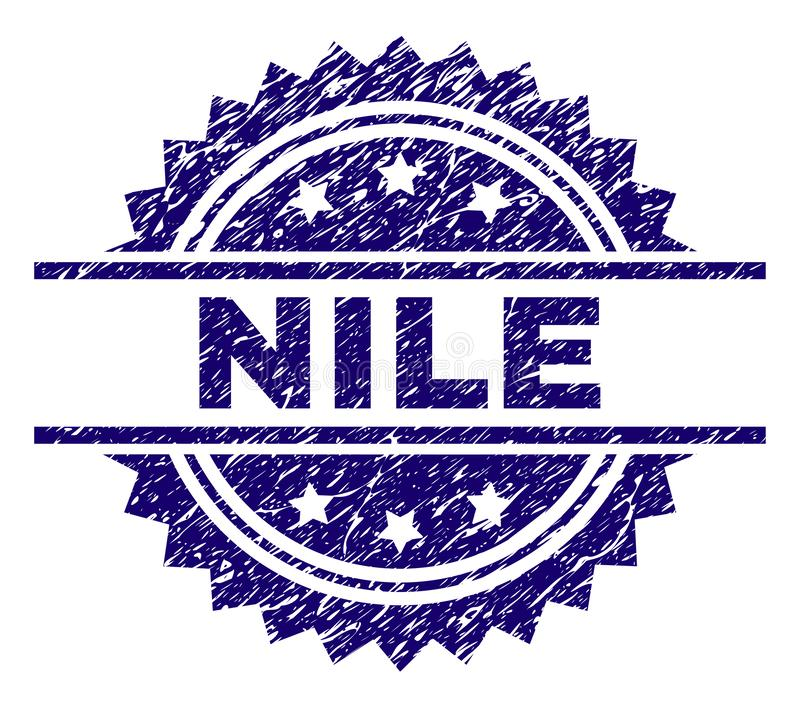 Scratched Textured NILE Stamp Seal. NILE stamp seal watermark with distress style. Blue vector rubber print of NILE label with dirty texture royalty free illustration