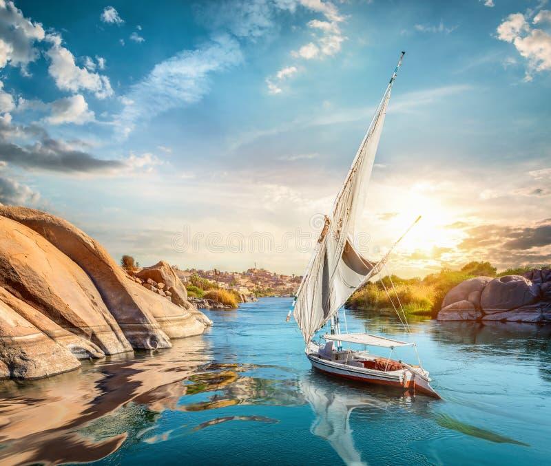 Nilen och Aswan royaltyfria foton