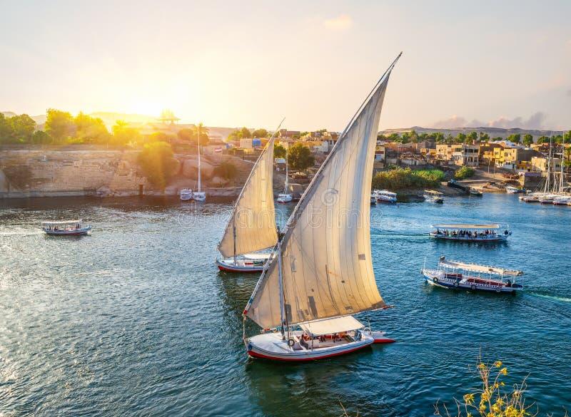 Nilen och Aswan royaltyfria bilder
