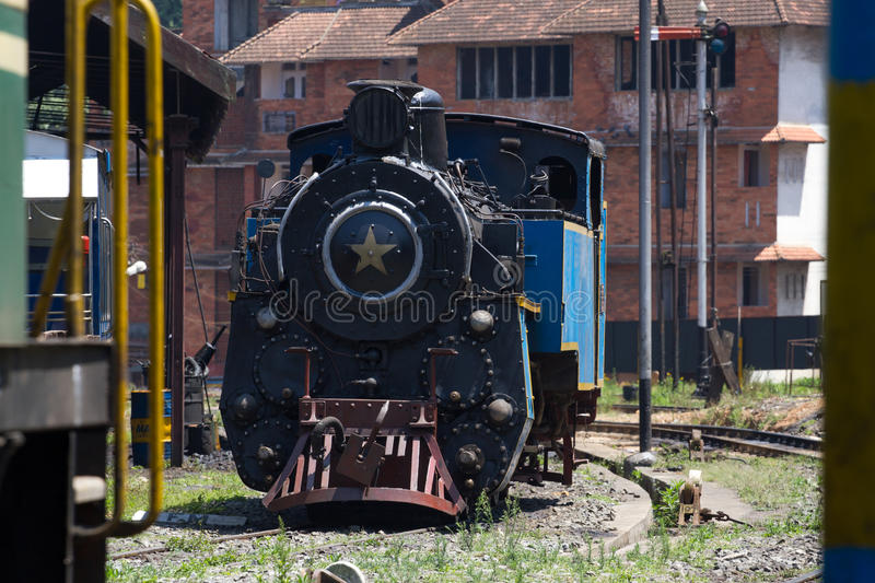 Nilgiri mountain railway. Blue train. Unesco heritage. Narrow-gauge. Steam locomotive in depot stock photos