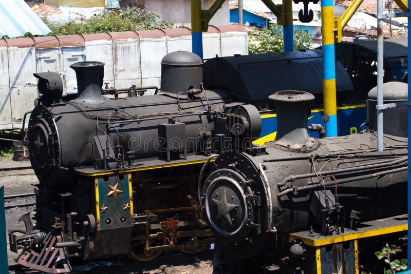 Nilgiri mountain railway. Blue train. Unesco heritage. Narrow-gauge. Steam locomotive in depot. Nilgiri mountain railway. Blue train. Unesco world heritage royalty free stock photography