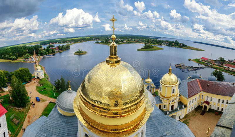 Nilo-Stolobensky Monastery from height stock photo