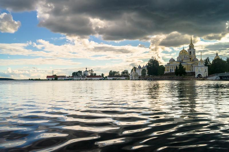 Nilov Monastery on the Stolobny island, Tver region. View from the lake Seliger.. stock image