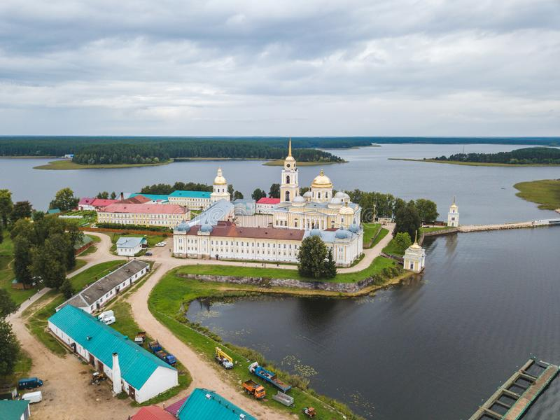 Nilova Pustyn monastery on lake Seliger royalty free stock photography