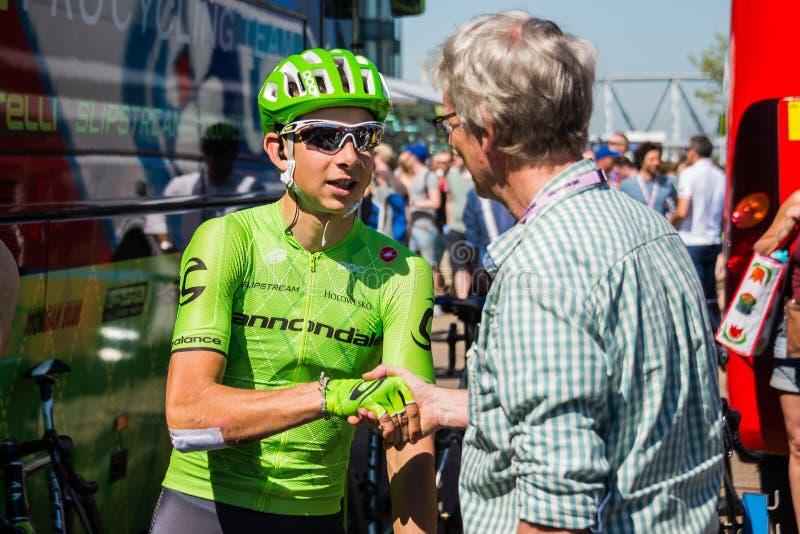 Nimègue, Pays-Bas le 8 mai 2016 ; Cycliste professionnel de Davide Formolo pendant une entrevue photographie stock libre de droits
