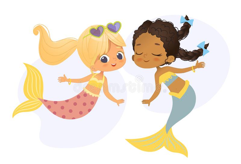 Nimf van de het Meisjesvriend van het meermin de Afrikaanse Kaukasische Karakter Mooie De jonge Onderwatermythologie van de de Vr royalty-vrije illustratie