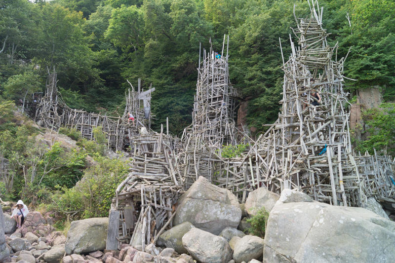 Nimis driftwood tower. Nimis wooden tower at Kullaberg Sweden made by driftwood by Lars Vilks royalty free stock photos