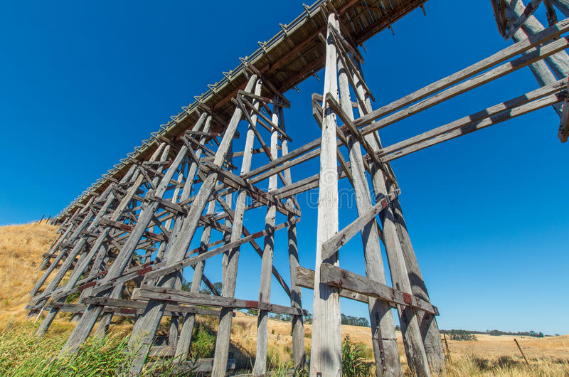 Nimmon's Bridge near Ballarat, Australia. Historic Nimmon's Bridge, a disused wooden trestle railway bridge near Ballarat, Australia stock images
