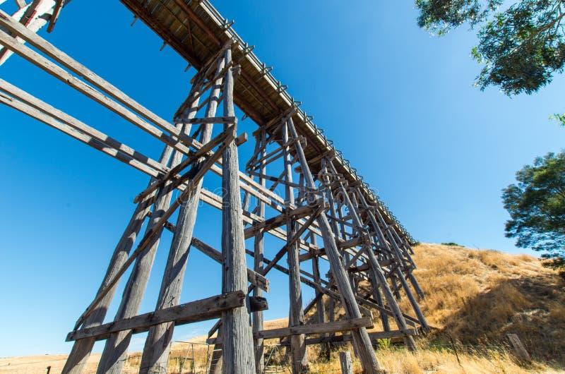 Nimmon's Bridge near Ballarat, Australia. Historic Nimmon's Bridge, a disused wooden trestle railway bridge near Ballarat, Australia royalty free stock image