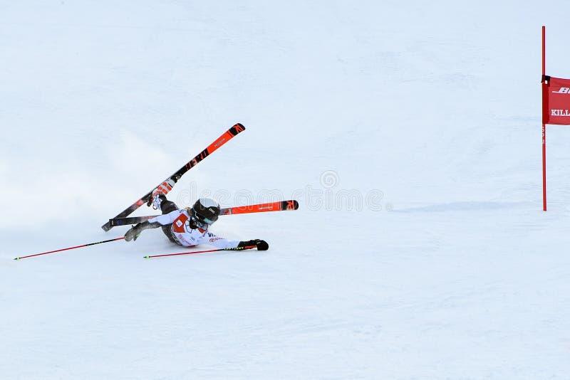 Nina nolla Brien av USA fruktdryck i fullföljandeområdet efter den andra körningen av den jätte- slalomet arkivbild