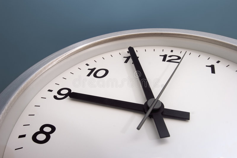 Almost nine. O'clock stock image