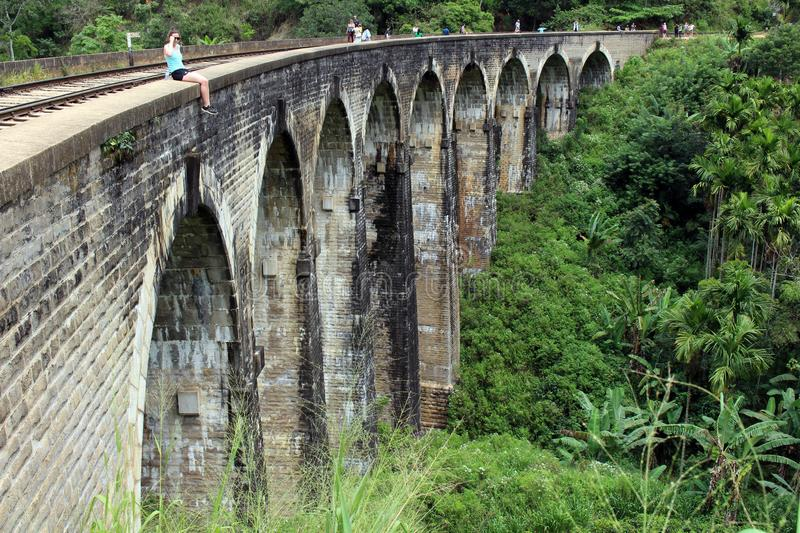 The nine arch bridge in Ella, reachable by walking on the rail stock photo