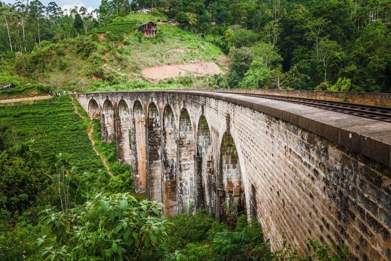 Nine Arches Bridge, Demodara Sri Lanka.  stock photos