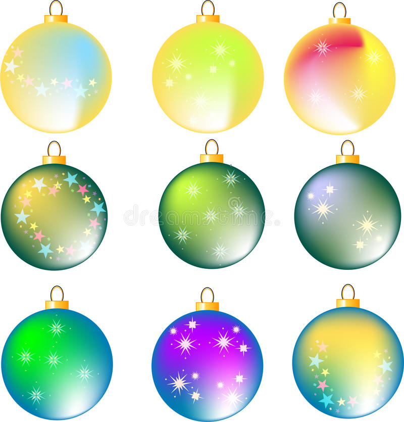 Download Nine Assorted Colorful Christmas Balls On White Stock Illustration - Image: 15488947