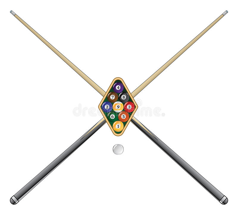 Free Nine Ball With Cue Sticks Stock Photography - 26196212