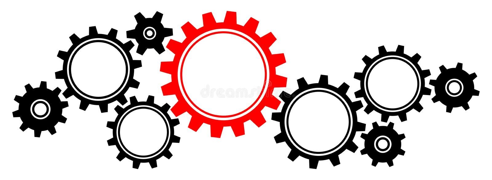 Nine Big And Little Gears Border Graphics Black And Red Horizontal stock illustration