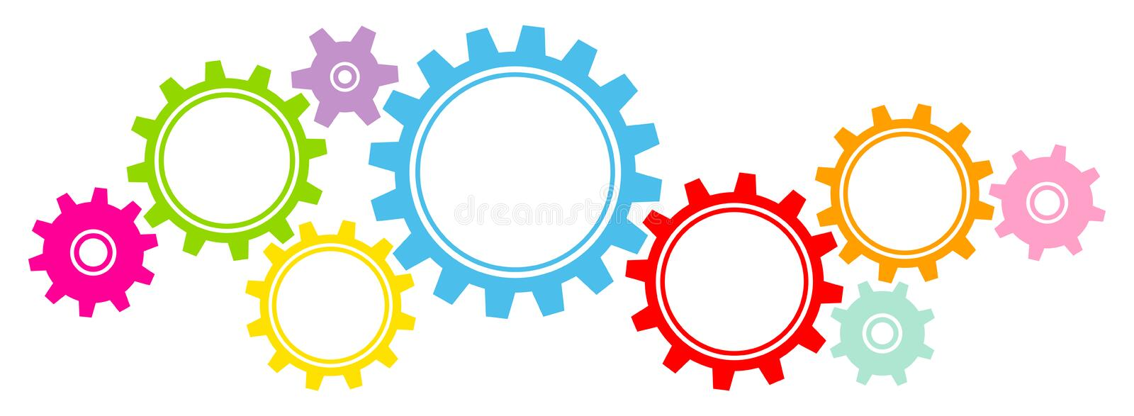 Nine Big And Little Graphic Gears Border Colors Horizontal stock illustration