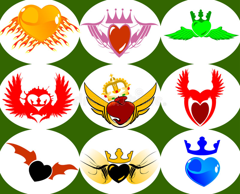Download Nine Brand New Crown Hearts On The Wings. Stock Images - Image: 2108214