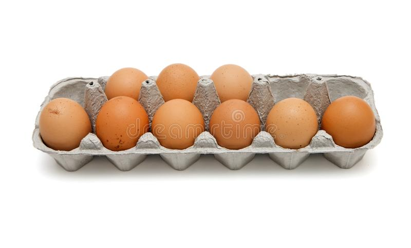 Download Nine Brown Eggs In Box Isolated Stock Image - Image of nine, background: 9620523
