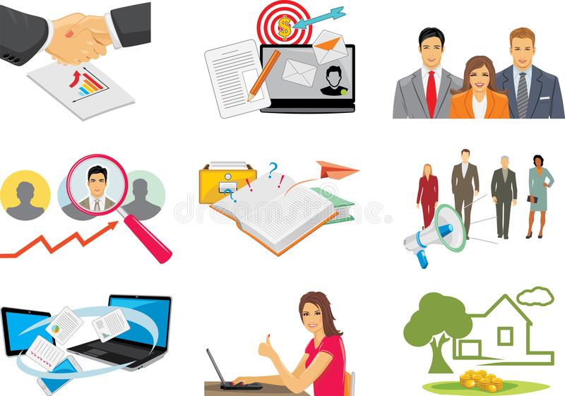 Nine business icons for web design royalty free stock photo
