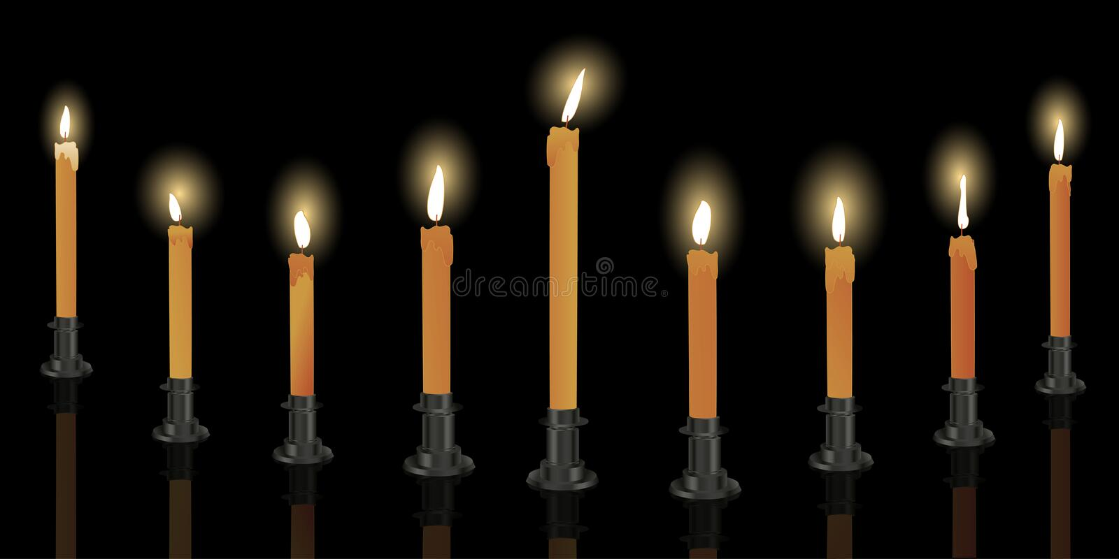 Download Nine candle menorah stock vector. Image of tradition - 16580322