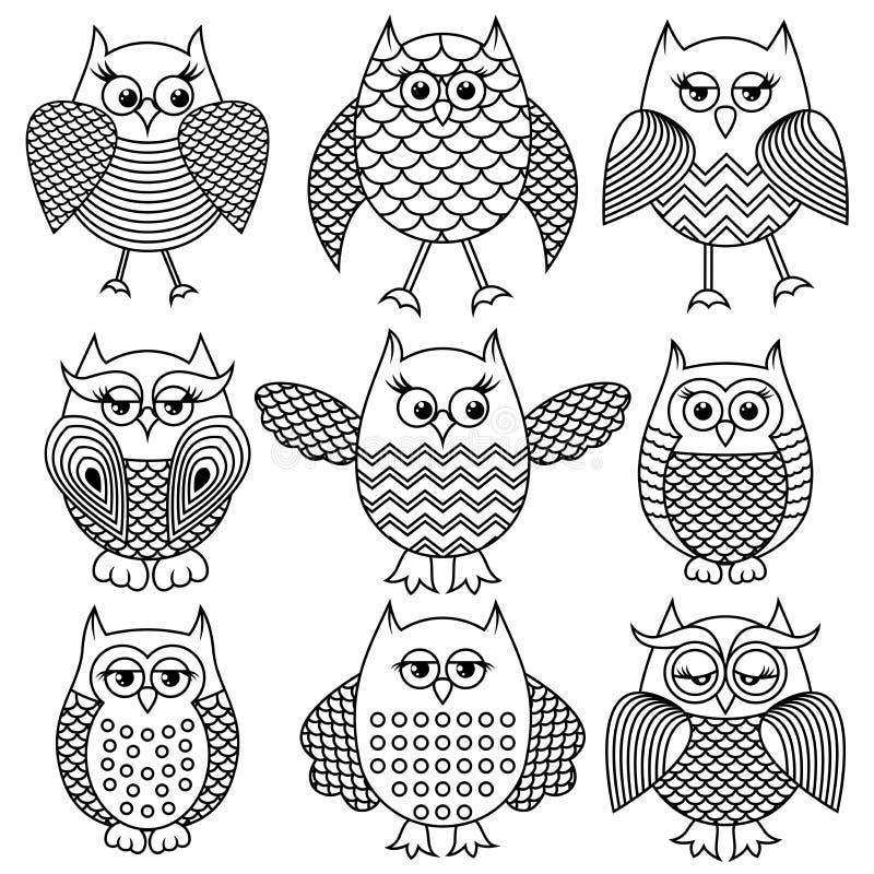 Nine cartoon funny owl outlines stock illustration