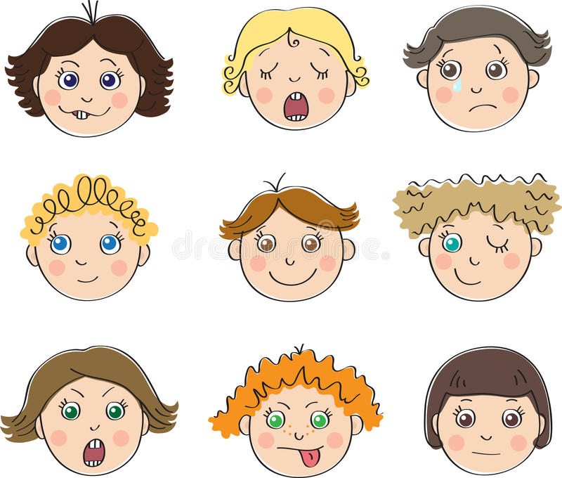 Nine childrens faces with different moods. Make faces; yawn; crying; dreaming; smile; at wink; scream; put out ones tongue; indifference royalty free illustration