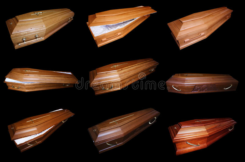 Nine coffins. Many opened coffins on a black background, nine coffins stock photo