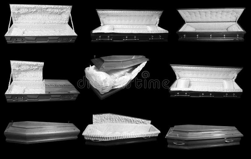 Nine coffins. On a black background royalty free stock images