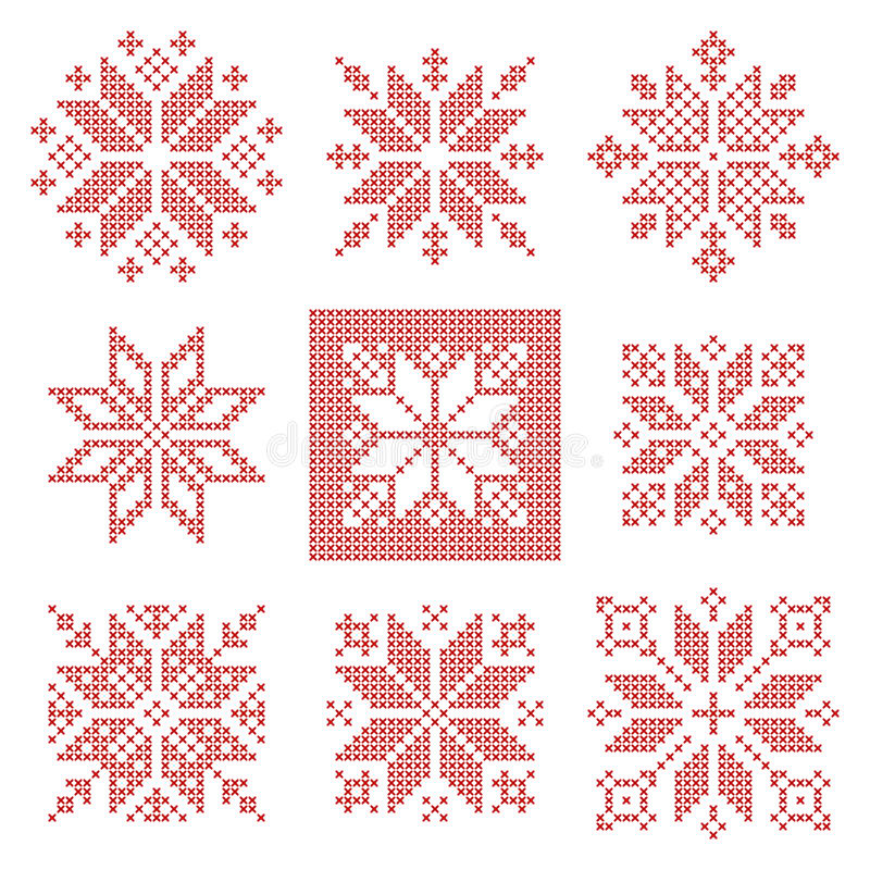 Nine cross stitch snowflakes pattern, Scandinavian style stock illustration