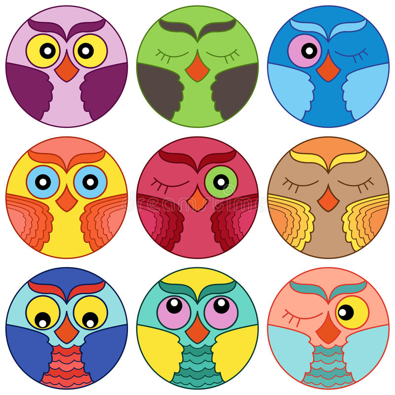 download nine cute owl faces in circle shapes stock vector illustration of collection circle