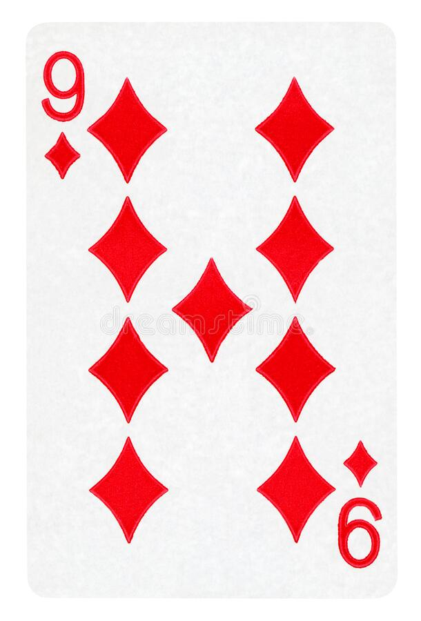 Nine of Diamonds playing card - isolated on white. Nine of Diamonds playing card isolated on white - clipping path included stock photography
