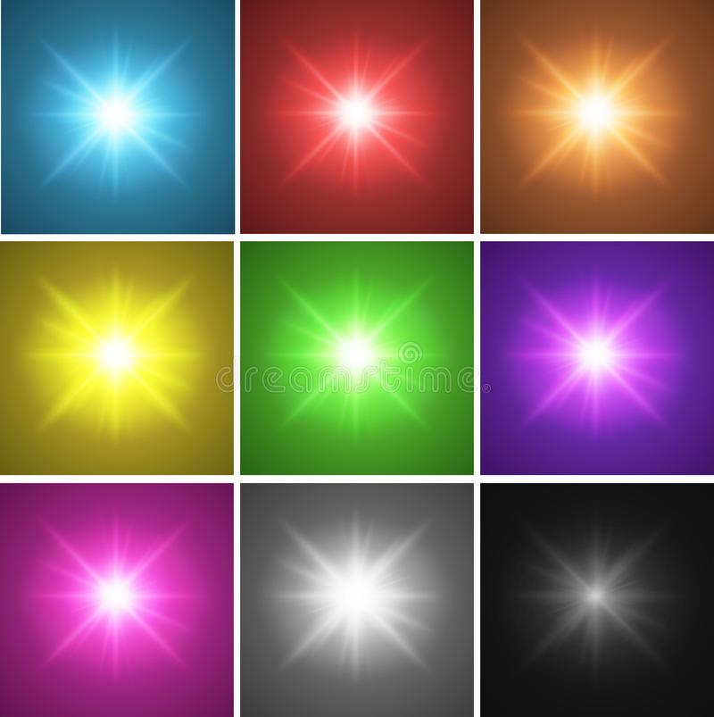 Nine different color backgrounds with bright light. Illustration vector illustration