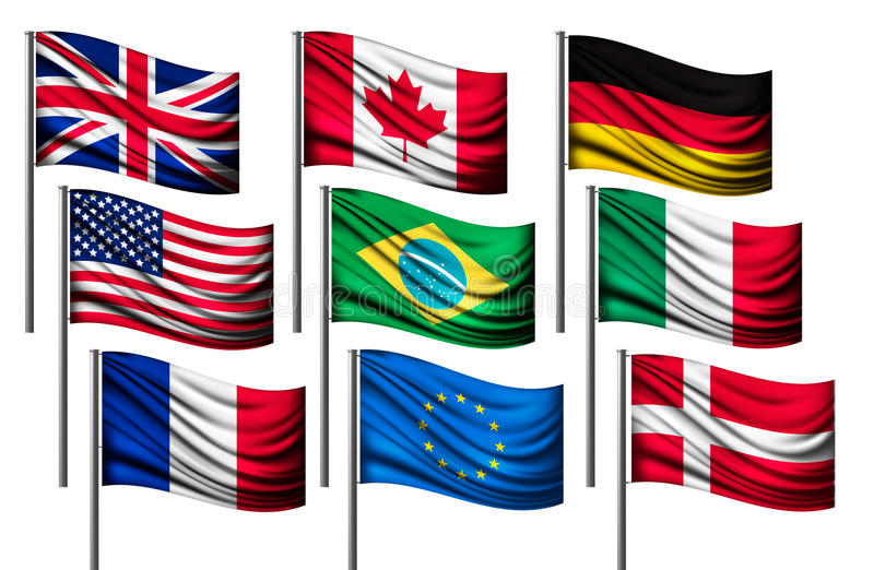 Nine different flags of major countries. stock illustration