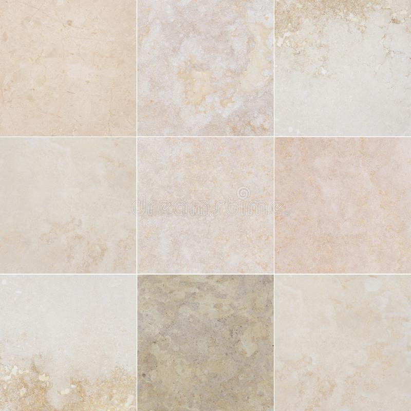 Nine different qualitative beautiful marble. Marble with natural abstract pattern. stock image