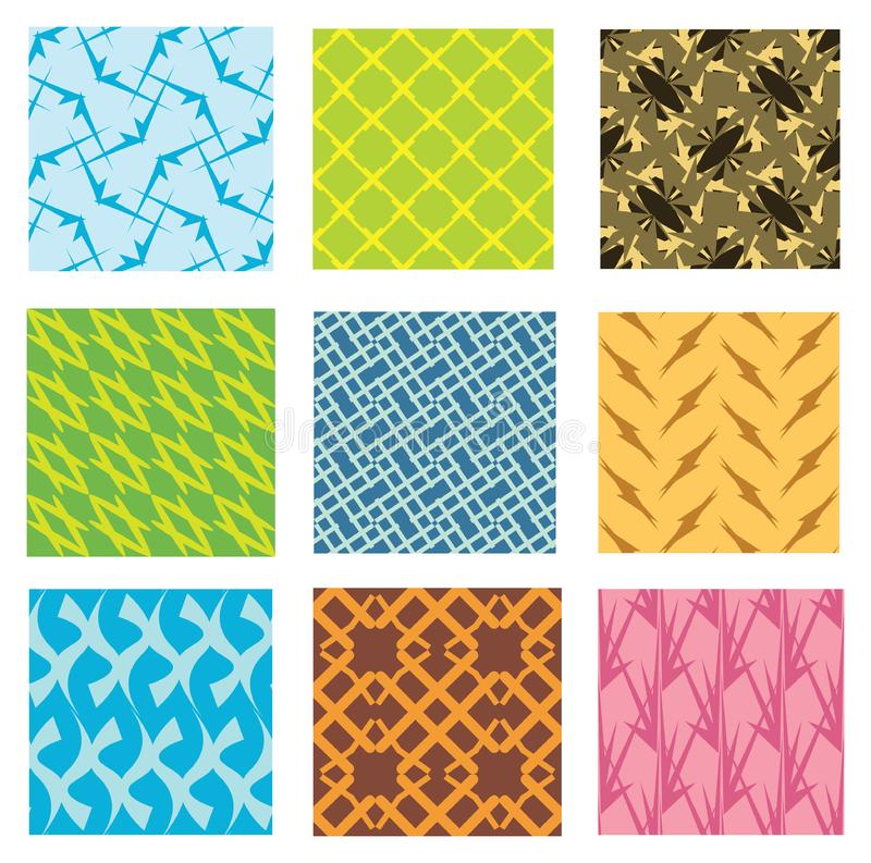 Nine different seamless pattern stock photo