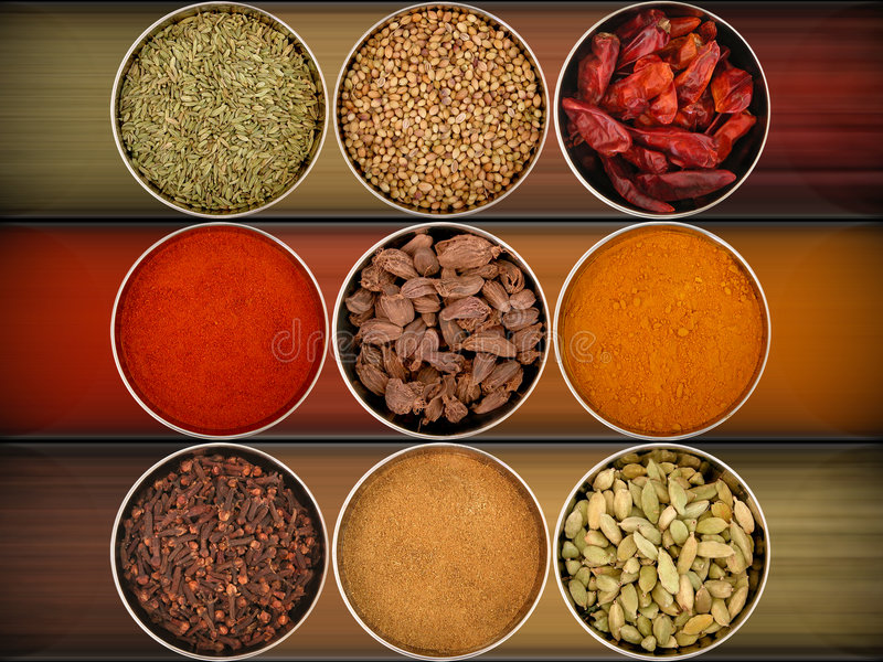 Nine different spices. An assortment of different spices for cooking