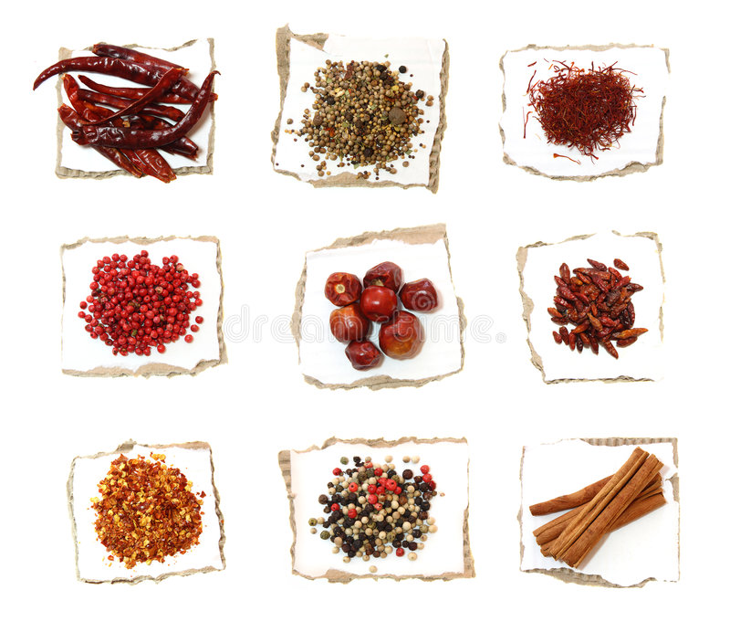 Nine Different Spices on paper royalty free stock photos
