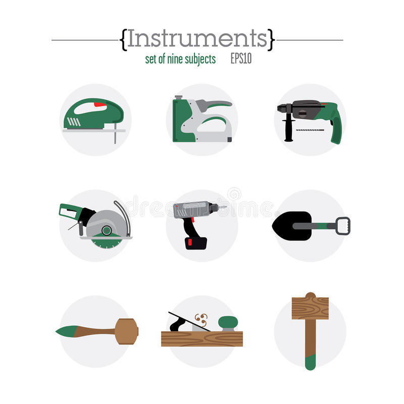 Nine different tool icons stock illustration
