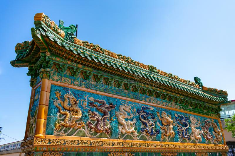 Nine Dragon Wall in Chinatown Chicago stock image