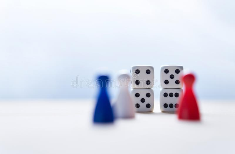 Nine eleven from dice numbers and board game pawns royalty free stock photos